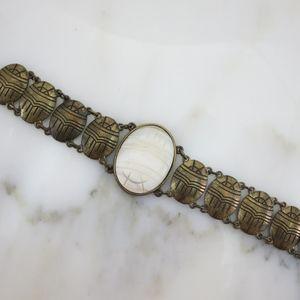 Mother of Pearl Scarab Bracelet - JewelMint, Brass